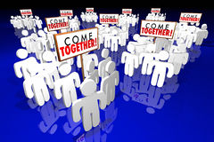 Come Together People Gathering Signs royalty free illustration