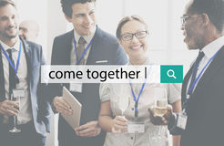 Come Together Unity Cooperation Collaboration Concept. People Discuss Come Together Unity Cooperation Collaboration Stock Images