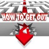 Come uscire le rotture Maze Wall Freedom Overcome Triumph O della freccia Illustrazione di Stock