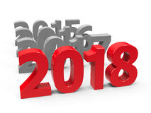 2018 come. On a white table represents the new year 2018, three-dimensional rendering, 3D illustration Royalty Free Illustration