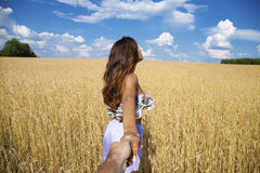 Free Come With Me, Young Beautiful Girl Holds The Hand Of A Man In A Stock Photos - 53629693