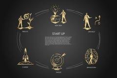 Comece acima - a ideia nova, estratégia, resultados, carreira, alvo, grupo do conceito do vetor do clique ilustração do vetor