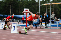Comece atletas em 400 medidores Fotos de Stock Royalty Free