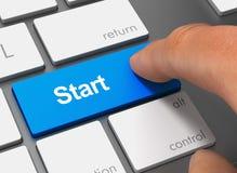 Comece empurrar o teclado com ilustração do dedo 3d Imagens de Stock Royalty Free