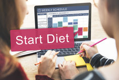 Comece o conceito saudável da programação do planeamento da dieta Imagens de Stock