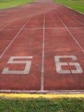 Comece o ponto, trilha running no estádio. Fotos de Stock