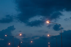 Comece quando a última luz do dia na noite Foto de Stock Royalty Free