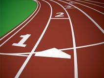 Comece a trilha. Linhas em uma pista de atletismo vermelha. Vetor ilustração do vetor