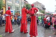 Comedians on stilts. At International Festival of Theater,Sibiu,Romania Royalty Free Stock Images