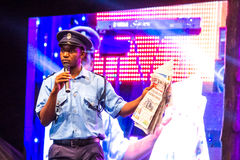 Comedin Topsy. Zambian comedian Topsy performs at the Night of a Thousand Laughs held at the Carnivore Grounds in Nairobi, Kenya on June 7th, 2014 Royalty Free Stock Image