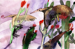 Comedor da formiga da aquarela Fotografia de Stock Royalty Free