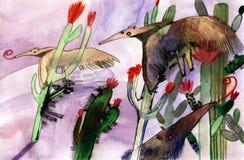 Comedor de la hormiga de la acuarela ilustración del vector