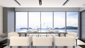 Comedor de la opinión del mar con la representación de lujo fija/3D de la tabla Foto de archivo