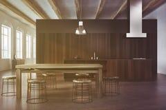 Comedor de madera concreto y oscuro entonado Foto de archivo