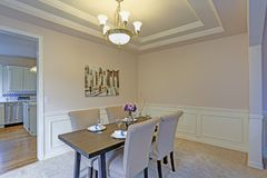 Comedor elegante acentuado con los moldeados del panel de pared y el techo de la bandeja fotografía de archivo