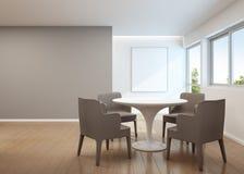 Comedor en casa moderna con el marco blanco Imágenes de archivo libres de regalías
