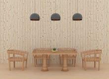 Comedor en interior de madera del estilo en el ejemplo 3D Imagen de archivo libre de regalías