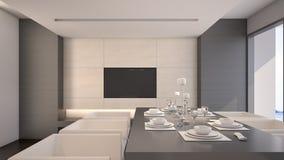 Comedor en la representación de lujo casa/3D Imagen de archivo
