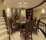 Comedor interior en un ejemplo clásico del estilo 3d Imagen de archivo libre de regalías