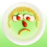 Comedor pobre, cara de la comida fotografía de archivo