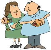 Comedores de la hamburguesa stock de ilustración
