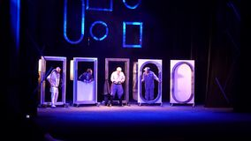 Comedy The Auditor. DNIPRO, UKRAINE - JULE 3, 2019: Comedy The Auditor by Mykola Gogol performed by members of the Dnipro State Drama and Comedy Theatre stock video