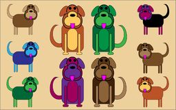 Comedy cartoon multi-coloured dogs. Cute, humorous cartoon dogs with happy faces sitting and walking with large wagging tails. Brightly coloured with cheerful Stock Photography