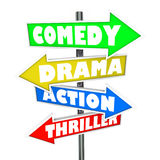 Comedy Drama Action Thriller Movie Genre Signs Royalty Free Stock Image