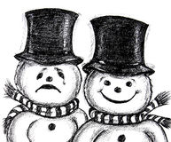 Comedy Drama Snowmen Stock Images