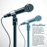 Comedy and entertaining live show advertising poster with 3d mic. Rophones vector illustration. Press interview, social announcement theme stock illustration