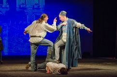 The Comedy of Errors. DNIPRO, UKRAINE - SEPTEMBER 30, 2017: The Comedy of Errors by William Shakespeare performed by members of the Chernihiv Regional Academic Royalty Free Stock Image