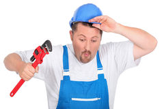 Plumber with a wrench Stock Image