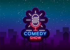 Comedy Show Stand Up invitation is a neon sign. Logo, Emblem Bright flyer, light poster, neon banner, brilliant night royalty free illustration