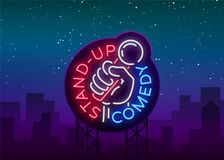 Comedy Show Stand Up invitation is a neon sign. Logo, Emblem Bright flyer, light poster, neon banner, brilliant night vector illustration