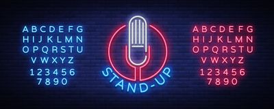 Comedy Show Stand Up invitation is a neon sign. Logo, Emblem Bright flyer, light poster, neon banner, night commercials. Advertisement, card, postcard. Vector Royalty Free Stock Photo