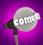 Comedy Stand Up Comic Performer Microphone Stock Photo