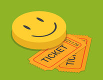 Comedy stand-up show ticket booking flat 3d isometric vector Royalty Free Stock Photography