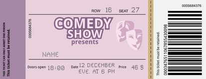 Comedy ticket stock illustration