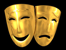 Comedy and tragedy. Gold theatrical masks of a comedy and tragedy Stock Photo