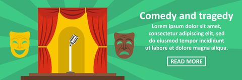 Comedy and tragedy banner horizontal concept Royalty Free Stock Images