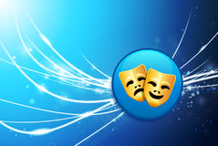 Comedy and Tragedy Button on Blue Abstract Light Background Royalty Free Stock Photo