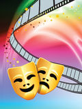 Comedy and Tragedy on Liquid Background. Comedy and Tragedy Masks on Abstract Liquid Wave Background Royalty Free Stock Image