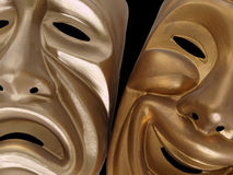Comedy and Tragedy Masks. Theatrical comedy and tragedy masks, isolated on black Royalty Free Stock Photo