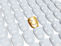 Comedy and tragedy masks. Gold comedy one in tragedy masks isolated over white background Stock Images