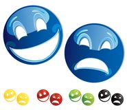 Comedy tragedy masks. Set of smiley comedy-tragedy masks, vector illustration Royalty Free Stock Photography
