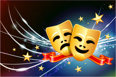 Comedy and Tragedy Masks on Abstract Modern Light Background Royalty Free Stock Photos