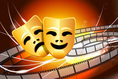 Comedy and Tragedy Masks on Abstract Modern Light Background Royalty Free Stock Photo