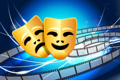 Comedy and Tragedy Masks on Abstract Modern Light Background Stock Images