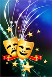 Comedy and Tragedy Masks on Abstract Modern Light Background. 