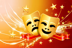 Comedy and Tragedy Masks on Abstract Modern Light Background Royalty Free Stock Photography
